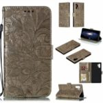 For Samsung Galaxy Note 10 Plus Imprint Lace Flower Leather Covering – Brown
