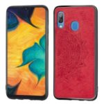 Imprint Mandala Flower Leather Coated PC + TPU Hybrid Case for Samsung Galaxy A20 / A30 – Red