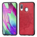 Imprint Mandala Flower Leather Coated PC + TPU Hybrid Case for Samsung Galaxy A40 – Red
