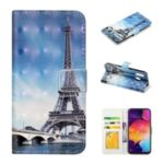 Pattern Printing Light Spot Decor Wallet Flip Leather Protective Cover with Strap for Samsung Galaxy A40 – Eiffel Towel