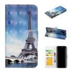 Pattern Printing Light Spot Decor Wallet Flip Leather Protective Cover with Strap for Samsung Galaxy S10 Plus – Eiffel Towel