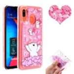 Embossed Glitter Powder Quicksand TPU Cell Shell for Samsung Galaxy A30 / A20 – Bear and Heart