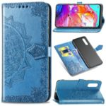 Embossed Mandala Flower Leather Wallet Case for Samsung Galaxy A70 – Blue