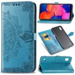 Embossed Mandala Flower Wallet Leather Case for Samsung Galaxy A10 – Blue