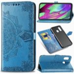 Embossed Mandala Flower Leather Wallet Case for Samsung Galaxy A40 – Blue