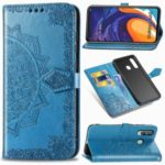 Imprinted Half Mandala Flower Leather Covering for Samsung Galaxy A60 – Blue