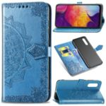 Imprinted Half Mandala Flower Leather Covering for Samsung Galaxy A50 – Blue