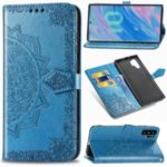 Imprinted Half Mandala Flower Leather Covering for Samsung Galaxy Note 10 Plus – Blue