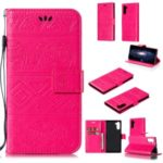 Imprint Elephant Leather Wallet Case for Samsung Galaxy Note 10 – Rose