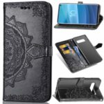 Embossed Mandala Flower Leather Wallet Case with Strap for Samsung Galaxy S10 – Black