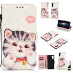 Pattern Printing Light Spot Decor Leather Wallet Shell for Samsung Galaxy Note 10 – Cat