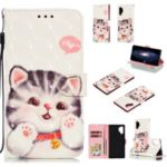 Pattern Printing Light Spot Decor Wallet Leather Case for Samsung Galaxy Note 10 Plus – Cat