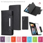 Litchi Texture Detachable 2-in-1 Magnet Leather Wallet Phone Shell for Samsung Galaxy Note 10 – Black
