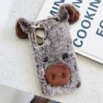 Rhinestone Decor Piggy Shape Fluffy Fur Coated TPU Protective Phone Cover for Samsung Galaxy Note 10 Plus/Note 10 Plus 5G – Coffee