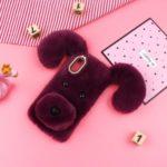 Cute Dog Fluffy Fur Coated TPU Phone Case for Samsung Galaxy A20e – Purple
