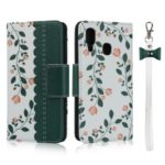 Pattern Printing PU Leather + TPU Wallet Phone Cover for Samsung Galaxy A40 – Dark Green