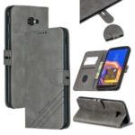 PU Leather Wallet Stand Shell Casing for Samsung Galaxy J4+/J4 Plus – Grey