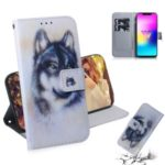 Printing Skin Leather Wallet Phone Case Shell for LG W10 – Black and White Wolf