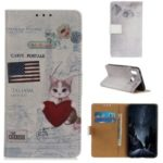 Printing Style PU Leather Wallet Stand Phone Shell for LG W10 – Cat Holding Heart