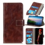 Crazy Horse Skin Retro Leather Wallet Case for LG W30 – Brown