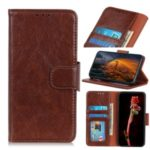 Nappa Skin Flip Leather Wallet Stand Phone Cover for Huawei Mate 30 Lite / nova 5i Pro – Coffee