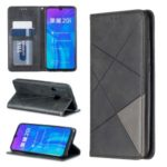 Geometric Pattern Leather Card Holder Phone Shell for Huawei P Smart Plus 2019/Enjoy 9s/Honor 10i – Black