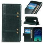 Rivet Decorated Crazy Horse Leather Wallet Case for Huawei Mate 30 Lite / nova 5i Pro – Blackish Green