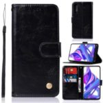 Premium Vintage Style Leather Wallet Protection Phone Case with Lanyard for Huawei Honor 9X / 9X Pro – Black