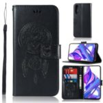 Imprinted Dream Catcher Owl Leather Wallet Cell Phone Case with Stand Cover for Huawei Honor 9X / 9X Pro – Black