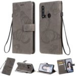 Imprint Butterfly Leather Wallet Case for Huawei P20 lite (2019) / nova 5i – Grey