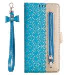 Lace Flower Pattern Zipper Pocket Leather Wallet Case for Huawei P20 lite (2019) / Nova 5i – Blue