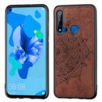 Imprint Mandala Flower Cloth Surface Leather Coated PC + TPU Shell for Huawei P20 lite (2019) / Nova 5i – Brown