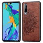 Imprint Mandala Flower PU Leather Coated PC + TPU Hybrid Case for Huawei P30 – Brown