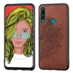 Imprint Mandala Flower Cloth Grain Leather Coated PC + TPU Phone Cover for Huawei Y9 Prime 2019/P Smart Z – Brown