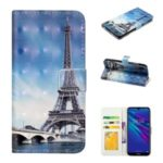 Pattern Printing Light Spot Decor Wallet Flip Leather Protective Cover with Strap for Huawei Y7 (2019) – Eiffel Towel