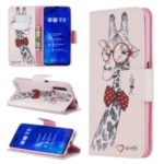 Printing Style Leather Wallet Phone Covering Case for Huawei Honor 9X / Honor 9X Pro – Adorable Giraffe Wearing Glasses