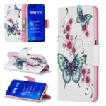 Pattern Printing Leather Wallet Case for Huawei Honor 9X / 9X Pro – Butterfly and Flower