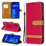Color Splicing Jeans Cloth Skin Wallet Stand Leather Flip Phone Case for Huawei Honor 9X/9X Pro – Red