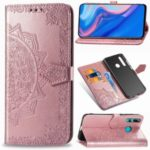 Embossed Mandala Flower Leather Wallet Phone Case for Huawei Y9 Prime 2019 – Rose Gold