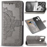 Embossed Mandala Flower Cell Phone Leather Wallet Case for Huawei P30 Lite / nova 4e – Grey