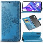 Embossed Mandala Flower Leather Wallet Case for Huawei Honor 9X Pro / 9X – Blue