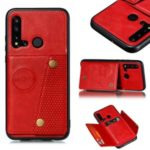 Magnetic Kickstand Leather Coated TPU Card Holder Cell Phone Cover for Huawei P20 lite (2019) / nova 5i – Red