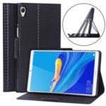 WY-1595A Ultra-thin Carbon Fiber Texture Stand Leather Tablet Shell for Huawei MediaPad M6 8.4-inch – Black