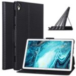 WY-1595A Ultra-thin Carbon Fiber Skin Stand Leather Tablet Cover for Huawei MediaPad M6 10.8-inch – Black