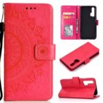 Imprint Mandala Flower Stand Wallet Leather Case for Huawei Honor 20 Pro – Red