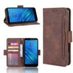 For Motorola Moto E6 Leather Wallet Stand Cell Phone Covering Case with Multiple Card Slots – Brown