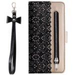 Lace Flower Pattern Zipper Pocket Leather Wallet Case for Xiaomi Redmi K20 / Mi 9T / Redmi K20 Pro / Mi 9T Pro – Black