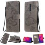 Imprint Butterfly Leather Wallet Case for Xiaomi Redmi K20 / Mi 9T / Redmi K20 Pro / Mi 9T Pro – Grey