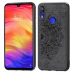 Imprint Mandala Flower Leather Coated PC + TPU Hybrid Case for Xiaomi Redmi 7 – Black