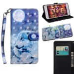 Printing Style Light Spot Decor Leather Wallet Phone Cover for Xiaomi Mi CC9e / Mi A3 – Moon and Wolf